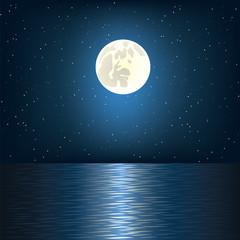 moon, star and ocean