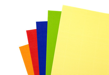 corrugated coloured cardboard on a white background
