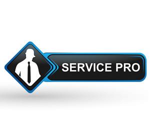 service pro sur bouton web carré design bleu