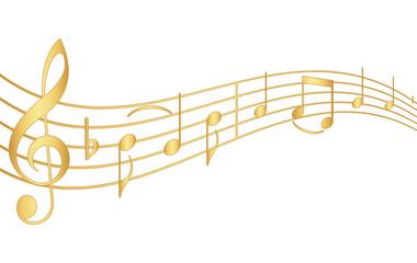 Goldene Musiknoten mit Schwung