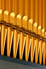 A row of golden organ pipes.
