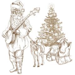 Santa Claus goes to play Christmas Carols on the Banjo.