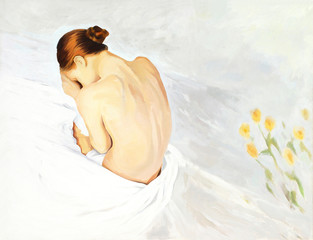 sad crying girl in beds, painting,  illustration