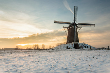 Dutch windmill in wintertime