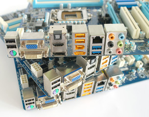 Back side of computer main boards