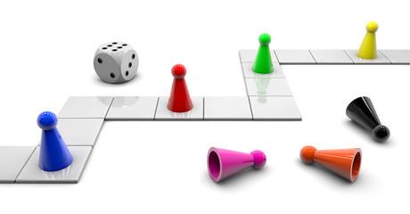 Fototapeta Board Game - cube and the pawn obraz