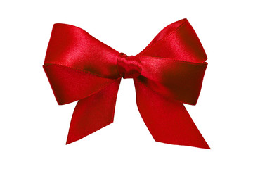 red bow with tails from ribbon