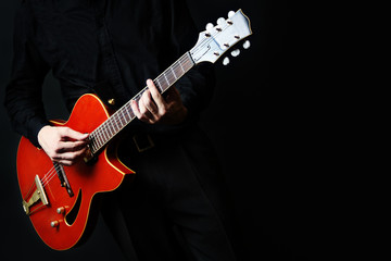 Photo sur Aluminium Musique Guitar electric Guitarist playing.
