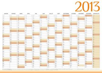 Calendrier année 2013 personnalisable
