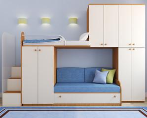 Children's bedroom in blue