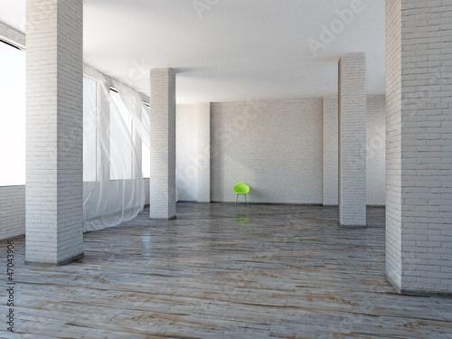 """loft mit beton und klinker einrichtung, industrie loft rustikal weitläufig gestrichene klinker"""" stockfotos, Design ideen"""