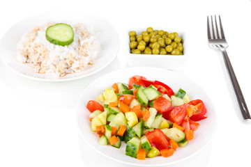 Healthy food on plate isolated on white