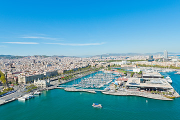 Aerial view of the Harbor district in Barcelona, Spain