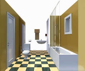 Modern bathroom yellow interior.