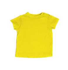 Children's wear - yellow shirt isolated over white background