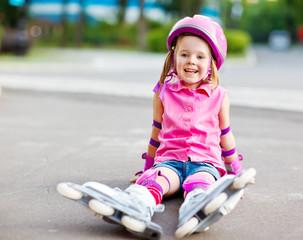 Roller skater in protective equipment