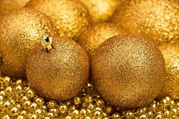 Golden Christmas spheres