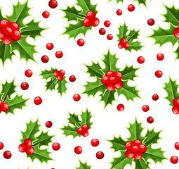Vector seamless background with Christmas holly.