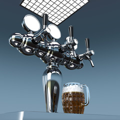 beer dispenser and filled mug 3D illustration
