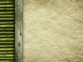 Template background - old handmade paper sheet and bamboo
