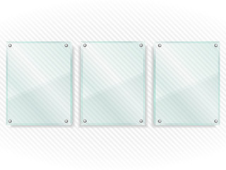 Transparent glass boards on striped background