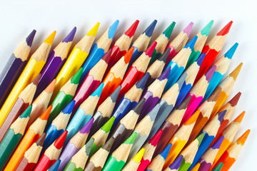 Set of color pencils for creativity on a white background