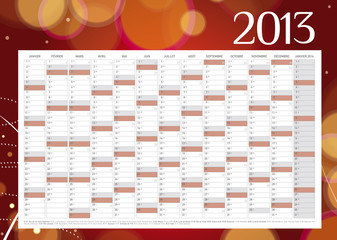 Calendrier année 2013 design en Français