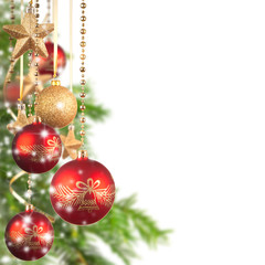 Christmas theme with glass balls and free space for text