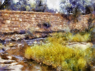 Stone wall and river