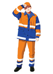 Vector illustration of a worker isolated on white