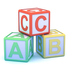 Letter blocks ABC pyramid