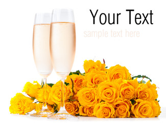 champagne and a bouquet of roses, ready template