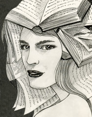 Woman with books over her head