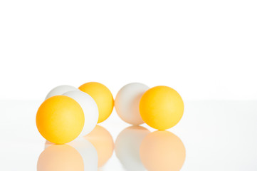 Group of ping pong balls in white background (business group con