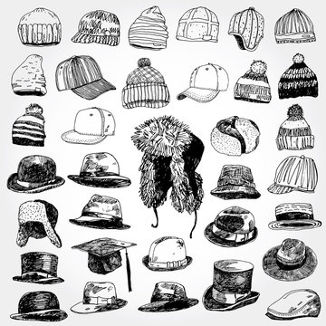 Collection of Hats Hand Drawn