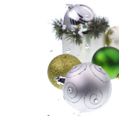 Green and silver christmas decorations
