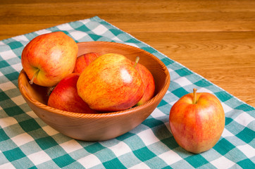 Bowl of red apples on green and white cloth