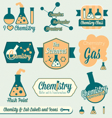 Vector Set: Vintage Chemistry Labels and Icons