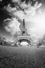 Dramatic Black and White view of Eiffel Tower, Paris
