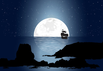 Half Moonlight With Sailboat