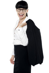 Excited corporate lady having great time