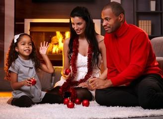 Beautiful diverse family at christmas