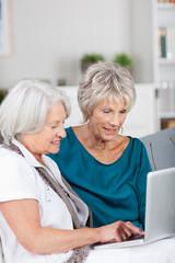 zwei seniorinnen am laptop