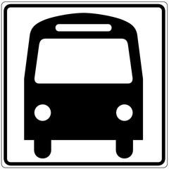 Papier Peint - Schild weiß - Bus