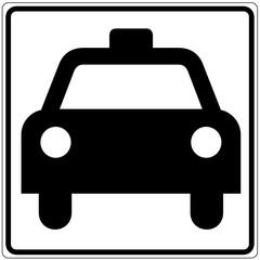Papier Peint - Schild weiß - Taxi