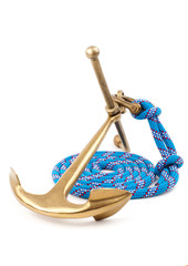old marine anchor and blue rope