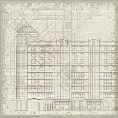 Grunge architectural background with plan and facade. Eps10