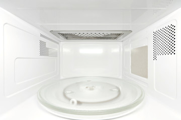 Inside empty microwave oven - frontal view, perspective