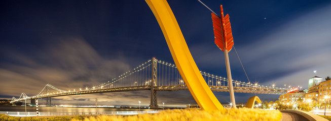 Panorama:  Bay Bridge, San Francisco under the moon light