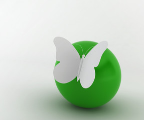 butterfly on a ball